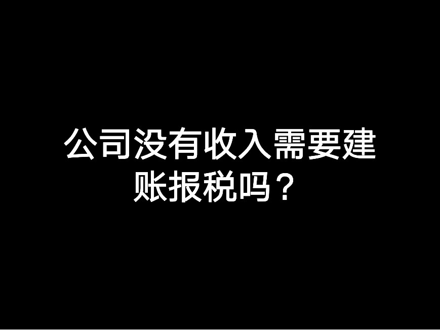 江门公司没有收入需要建账报税吗